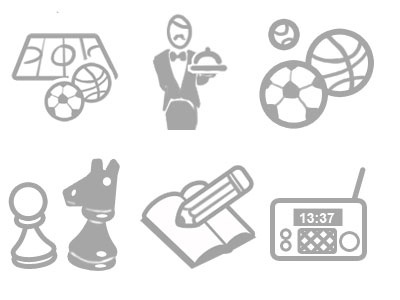 Icons chess playground balls basketball soccer waiter pen radio