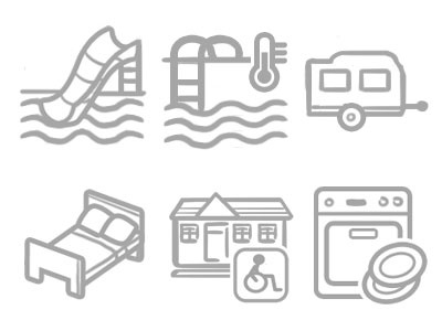 Icons swimming pool camping car bungalow bed icons dishwasher