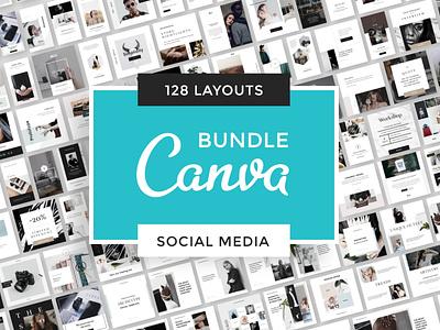 CANVA Bundle Social Media logo brand social pinterest instagram social network canvatemplate canva socialmedia bundle branding template minimal layout