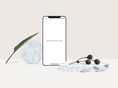 Minimal Scene Creator marble plant realistic ux phone app phone showcase ui presentation minimal layout brand device mockup scene creator scene creator
