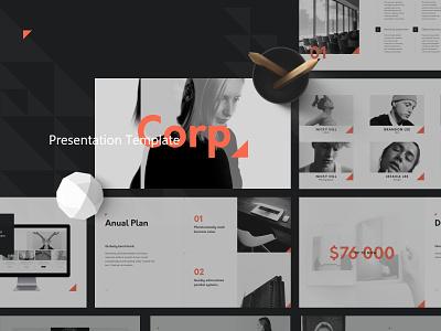 C O R P creative layout minimal powerpoint template powerpoint branding illustration slide template presentation brand