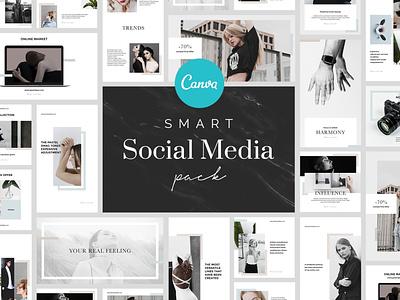 Smart Canva Social Media Pack design minimalistic photoshop creative template instagram branding layout minimal socialmedia brand canva template canva