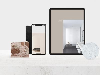 Scene Creator branding logo minimal brand social geometic marble phone tablet devices mockup scene creator