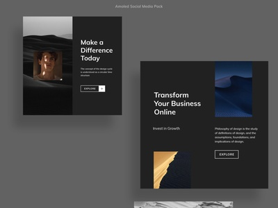 Amoled Photoshop Social Media Pack new trend style square facebook pinterest instagram blog poster social media simple pure black ui photoshop amoled template minimal layout brand