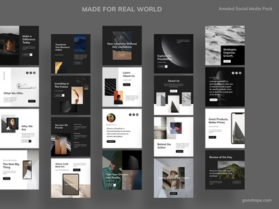 Amoled Photoshop Social Media Pack photoshop goashape creativemarket branding web marketing site shares pinterest blogger instagram post template minimal layout brand social media