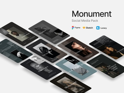 Monument Social Media Pack for Figma and Sketch creative layout minimal presentation brand blog post instagram stories lunacy socialmedia sketch figma