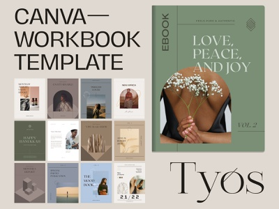 Tyos Canva Workbook minimalist etsyseller etsy templates template ebook design ebook cover ebook magazine print cover canva canva design canva templates canva template canva workbook