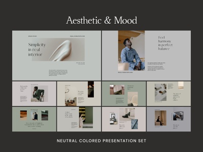 Aesthetic & Mood Canva Presentation Templates modern colored kit branding stylish design mood kit neutral layout canva deck design branding template minimalist design presentation slide deck canva design canva presentation canva template