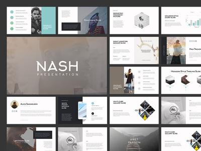 NASH web unique slideshow logo creative presentation powerpoint layout keynote flat design