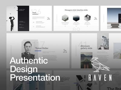 RAVEN Presentation ui typography layout portfolio unique minimalistic modern creative slide powerpoint keynote presentation