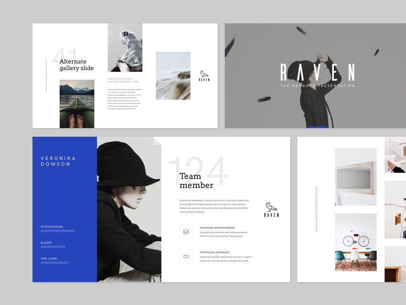 RAVEN layouts ui minimal flat modern brand typography slideshow keynote layout slide presentation