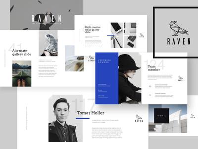 Slides RAVEN unique ui typography slide presentation powerpoint portfolio modern minimalistic layout keynote creative