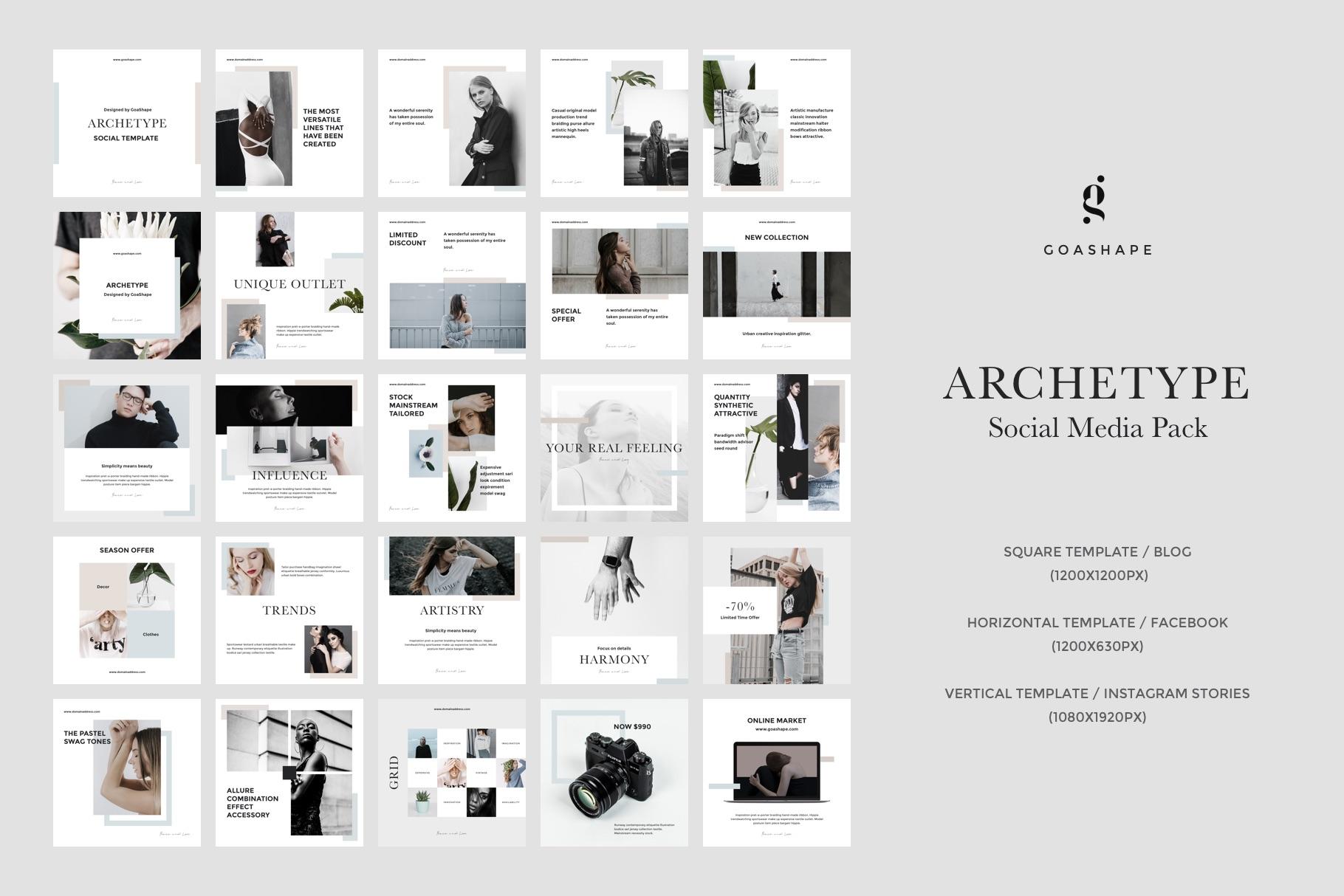 Showcase   archetype social media pack by goashape