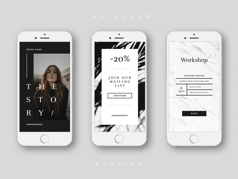 Luxury Instagram Stories typography social layout post blog brand ux creative market phone luxury luxury brand stylish photoshop template social media design instagram stories