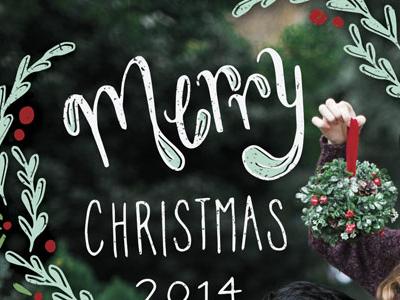 Christmas Postcard christmas hand lettering mistletoe merry holidays christmas cards berries