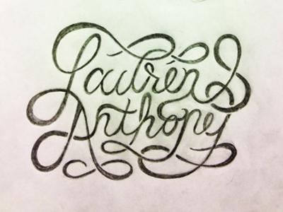 Lauren & Anthony swash sketch ampersand wedding invitation