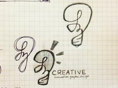 LZ Logo logo light light bulb sketch hand drawn idea