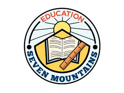 education education icon blue orange sun book ruler mountains