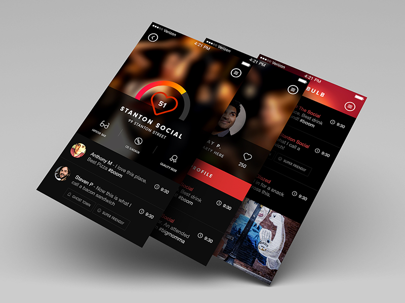 Nite Bulb ui ux user experience icon ios7 simple interactive clean night life design button app