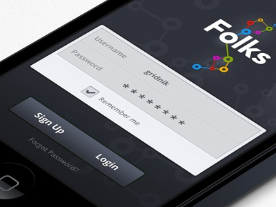 Folks node iphone ui ux user interface userinterface app iphone ui iphone ux folks folk login signup local social mobile socialnetwork friends interface atom logo sharp network networking atoms form forms mobileui icon buttons