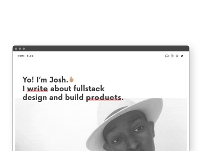 My Personal Site ui black white pink website