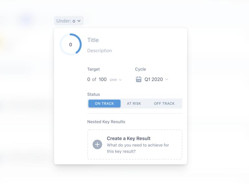 Create a Key Result goal vector flat white ux ui design