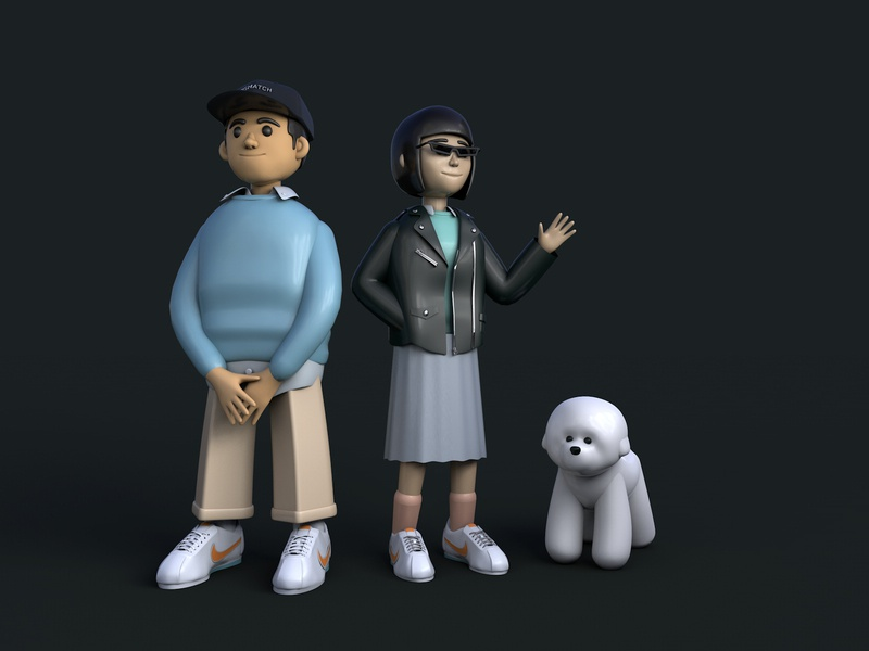 3d Practice – Couple with dog