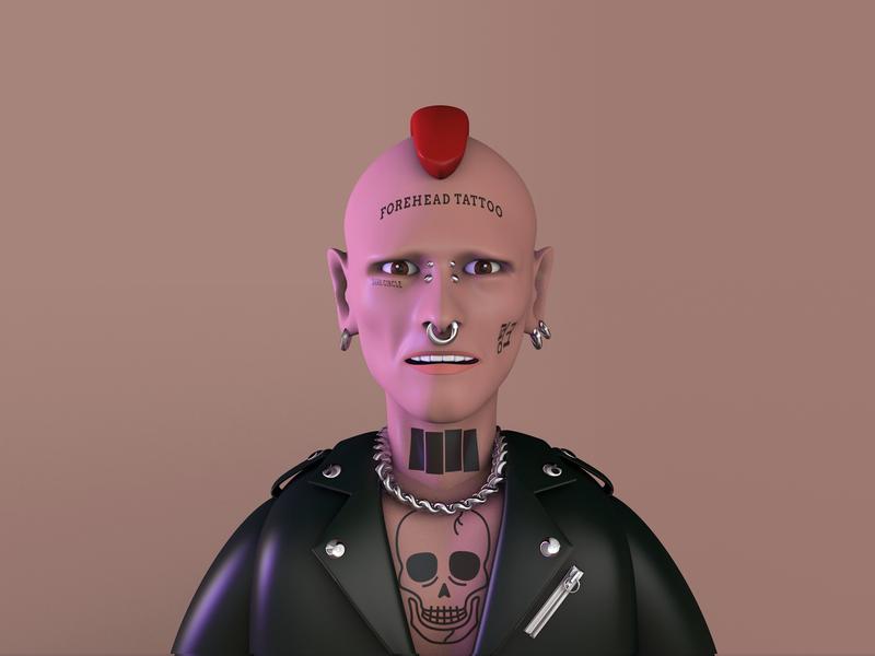 3d Practice – Punk Rocker