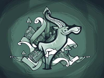 Antílope sic grunge green antilope
