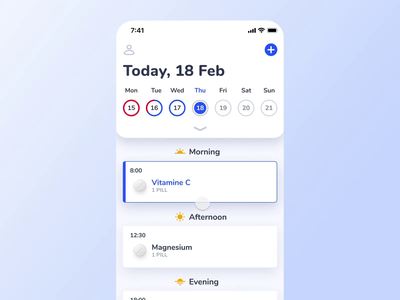🦊 Medfox - iOS Calendar Prototype tracking gamification ios motion medfox notification prototype mobile task meds pills medical health alarm medicine reminder progress ui animation calendar