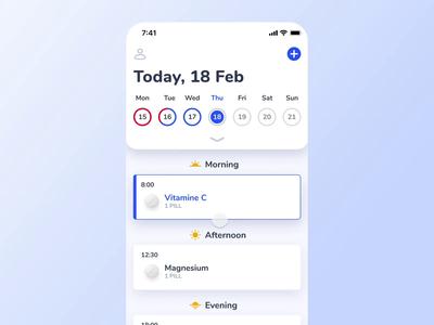 🦊 Medfox - iOS Calendar Prototype tracking gamification ios motion medfox notification prototype mobile task meds pills medical health alarm medicine reminder progress ui animation calendar