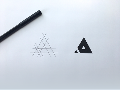 A letter Logo Sketch simple geometric triangle black paper sketch logo a letter