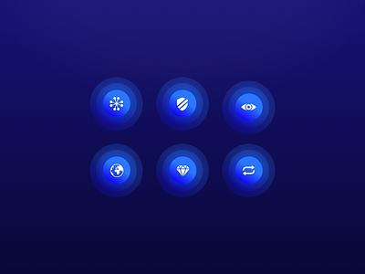 Icons ui set app iconography crypto bitcoin technology glow future icons icon