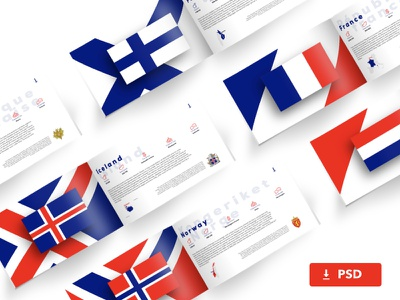 High Resolution Landscape Brochure Mockup ui colors europe countries flags photoshop psd book brochure mockup