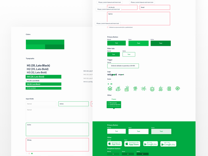 Vitiport - UI KIT favicon buttons statements colors input fields style sheet branding typography set icons ux ui kit