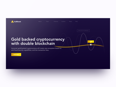 AuMonet - Gold backed cryptocurrency ico cryptocurrency webdesign interface gold gif clean web branding ui ux animation