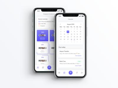 Event Task Manager - Tab Bar Interaction progress task calendar iphone event manager event menu tap bar add ui