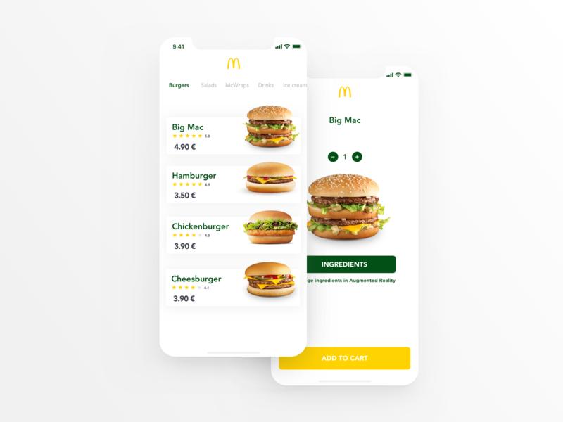 McDonald's App design clean animation iphone app ios mcdonalds prague ux ui