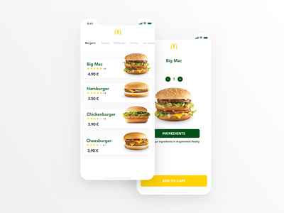 McDonald's App design clean animation iphone app ios mcdonalds prague ux ui