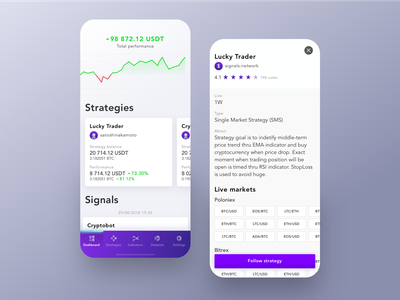 Signals - Mobile iOS App ecommence finance dashboard data clean mobile crypto app white interface ios ux ui uxui