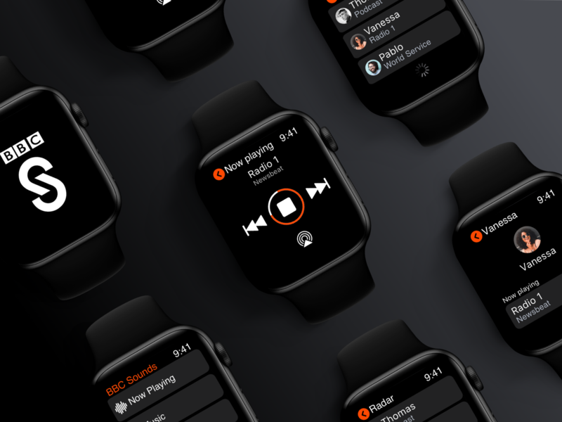 BBC Sounds - Apple Watch (WatchOS) App london running wearable ios app design bbc sounds smart watch dark black ux  ui player watchos apple watch music