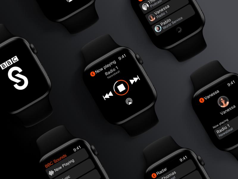 BBC Sounds - Apple Watch (WatchOS) App london running wearable ios app design bbc sounds smart watch dark black ux  ui player watchos apple watch music