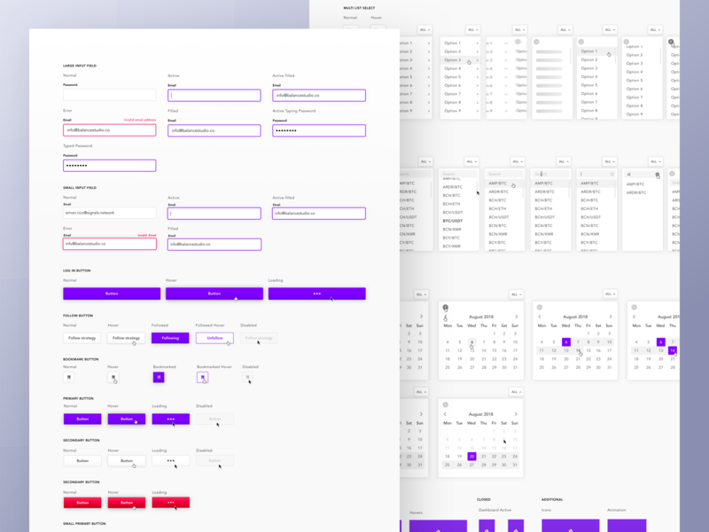 Signals - Design System purple signals states error state calendar dropdown buttons input fields ui kits ui crypto cryptocurrency web app guideline library ui kit style guide design system