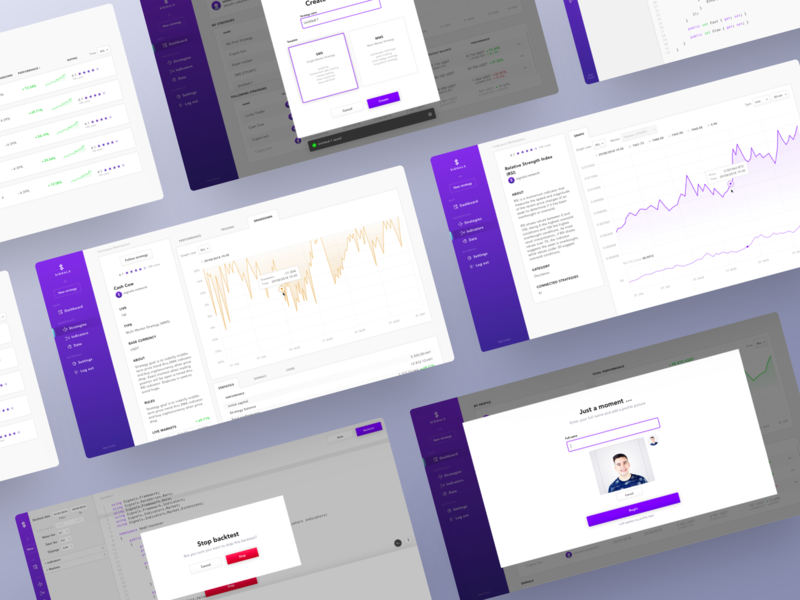 Signals - Other Screens code editor backtest web app algorithmic stats graph finance statistics diagram overview crypto trading data analytics chart