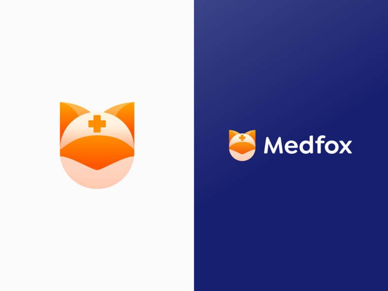 🦊 Medfox - Logo & App Icon medfox head orange cross pharmacy medicine app pill alarm reminders symbol icon face logo animal cute branding fox app icon illustration