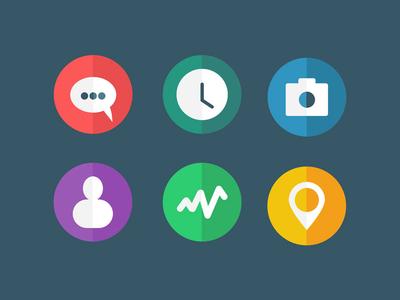 [FREEBIE] Flat Icons (.psd/.sketch) freebie ui ux icons flat illustration glyphs skeuo camera freebies clock design sketch sketch app