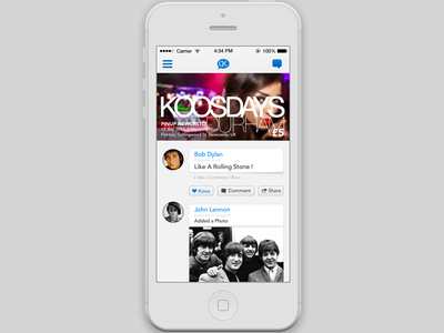 iPhone app - homepage/timeline ui ux iphone app mockup skeuomorphic ios7 ui design branding bob dylan