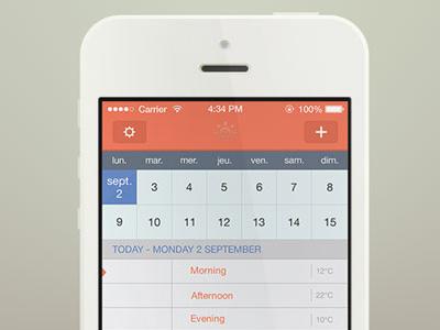 Sunrise iOS 7 redesign ui ux ios 7 ios flat design flat mockup redesign calendar grid minimalistic simple