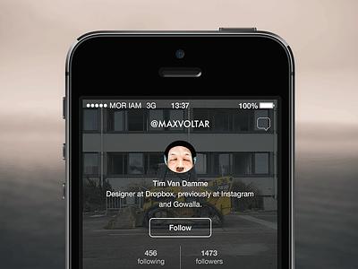 Profile screen ui ux design ios profile minimalist simple futura typography