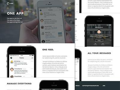 One - Landing Page ui ux design flat webdesign icons iphone app landing page logo simple ui design